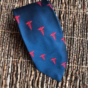 Vintage doctor medicine necktie tie navy
